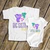 Big sister little sister whimsy bird sibling Tshirt set