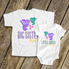 Big sister little sister whimsy bird sibling Tshirt set