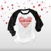 Valentine heart teacher name grade personalized raglan shirt