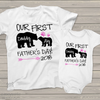 First Fathers Day daddy baby girl bear matching shirt gift set