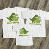 Dinosaur daddy mommy baby saurus matching THREE shirt gift set