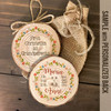 Birth stats flowers arrows birth announcement wood slice ornament