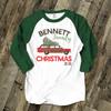 Retro family Christmas personalized unisex ADULT raglan shirt