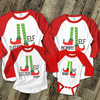 Christmas elf family matching FOUR raglan shirt gift set