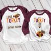Thanksgiving turkey in oven pregnancy announcement unisex adult raglan shirt set