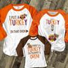 Thanksgiving turkey in oven pregnancy announcement THREE raglan shirt set