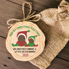 Baby's first Christmas with siblings personalized wood slice ornament