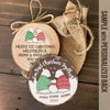 First Christmas together daddy mommy baby snow bear wood slice ornament