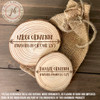 First Christmas just married wood slice ornament