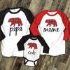 Christmas red plaid bear family matching THREE raglan shirt gift set