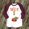 Mommy Thanksgiving turkey in oven unisex adult raglan shirt