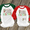 Christmas reindeer drinking/eating for two pregnancy announcement unisex adult raglan shirt set