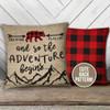 Buffalo plaid bear faux burlap nursery pillow