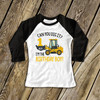 Birthday boy any age excavator can you dig it personalized raglan shirt
