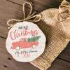 Our first Christmas as mr. and mrs. vintage truck wood slice ornament