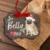 Pug dog personalized Christmas ornament