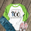Teacher 100 days llamas adventured right through unisex adult raglan shirt