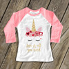 Valentine unicorn love is all you need sparkly glitter raglan shirt