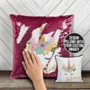 Unicorn face faux glitter personalized decorative sequin pillowcase pillow