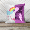 Rainbow and clouds personalized decorative sequin pillowcase pillow
