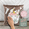 Unicorn decorative sequin pillowcase pillow with back message