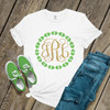 St. Patricks Day glitter monogram shamrock wreath womens shirt