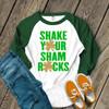 Funny St. Patricks Day shake your glitter shamrocks adult raglan shirt