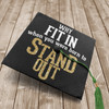 Custom vinyl quote art design for graduation cap why fit in when you were born to stand out