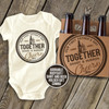 First Fathers Day together best buds cheers bodysuit and 6-pack bottle holder gift set