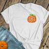 Fall pumpkin vine monogram sparkly glitter ADULT Tshirt