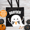 Halloween ghost personalized trick or treat black tote bag