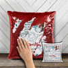 Holiday stamp return address personalized decorative sequin pillowcase pillow