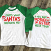 Christmas big brother or big sister to be guess what pregnancy announcement raglan shirt