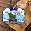 Mr & Mrs First Christmas mountains holiday ornament