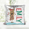 Christmas reindeer holiday personalized decorative sequin pillowcase pillow