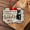 Forever in our hearts cat personalized memorial Christmas ornament