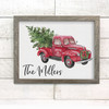 Christmas tree farm vintage truck personalized canvas print sign with optional frame