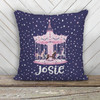 Whimsical carousel personalized decorative sequin pillowcase pillow