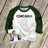 St. Patrick's Day Chicago shamrock adult unisex raglan shirt