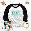 St. Patrick's Day Chicago skyline shamrock adult unisex raglan shirt