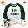 St. Patrick's Day I shamrock Chicago adult unisex raglan shirt