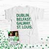 St. Patrick's Day dogtown or st. louis shamrock glitter option adult unisex Tshirt
