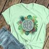 Monogram initials tropical palm flower wreath unisex crew neck or v-neck shirt