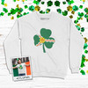 Saint Louis fleur de lis flag shamrock adult crew neck sweatshirt