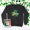 Saint Louis fleur de lis flag shamrock adult crew neck DARK sweatshirt