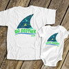 Brother or sister shark fin matching sibling Tshirt set