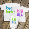 Brother or sister geometric shape text three matching sibling Tshirts
