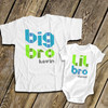Brother or sister geometric shape text matching sibling shirt set