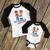 Comic book big brother or sister superhero li'l sidekick raglan sibling shirt set