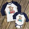 Puppy big bro lil bro matching sibling raglan shirt set